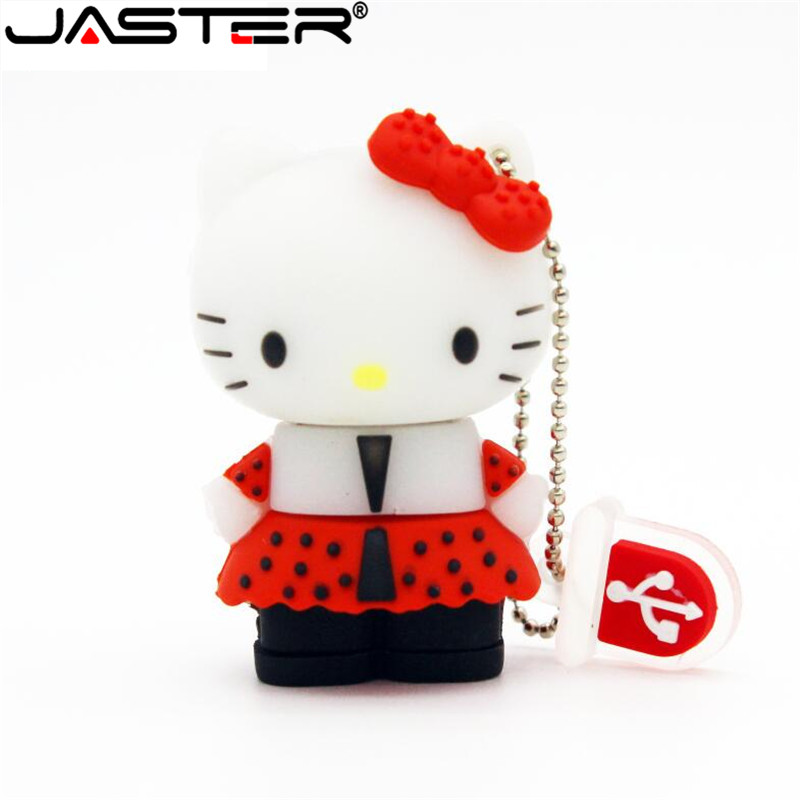 JASTER Cute Hello Kitty Usb Flash Drive Pen Drive Pendrive 4gb 8gb 16gb 32GB 64GB Cartoon U Disk Flash Card Memory Stick Gift