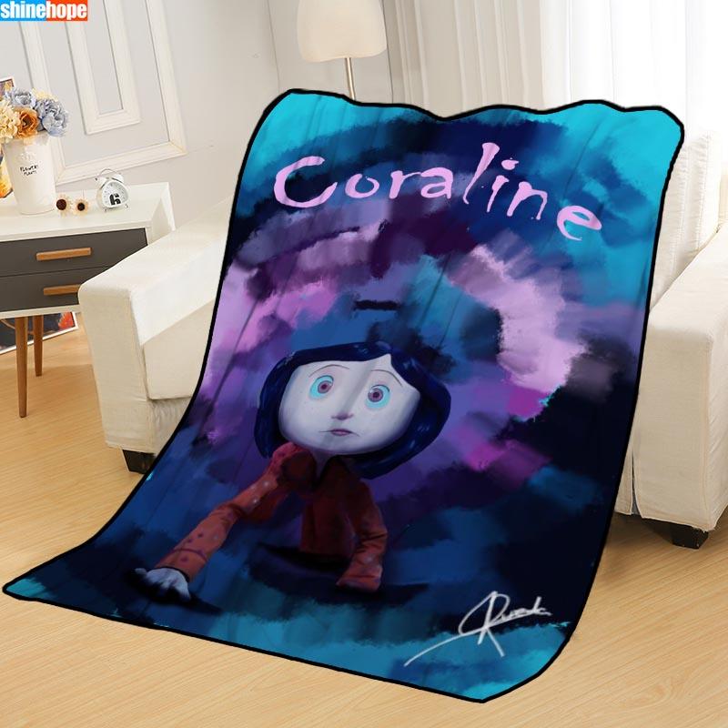 Custom Coraline Blankets For Beds Throw Blanket Soft Blanket Summer Blanket Anime Blanket Travel Blanket