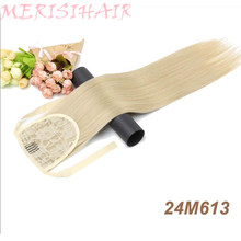 MERISI длинные прямые волосы на шнурке синтетический конский хвост черный/коричневый термостойкий шиньон на заколке для женщин