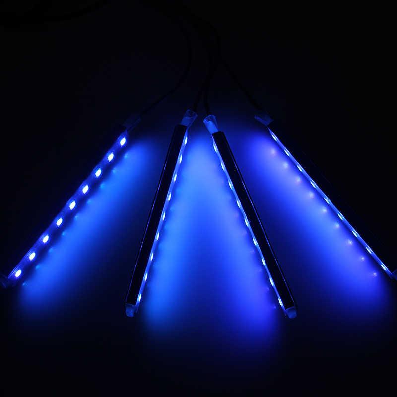 POSSBAY 4 in 1 araba esnek zemin Neon ışıkları kapı lambası kablosuz uzaktan kumanda ile atmosfer lamba araba RGB LED şerit ışık