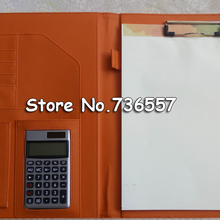 PU leather folder Padfolio multifunction organizer planner notebook ring binder A4 file folder with calculator office supply