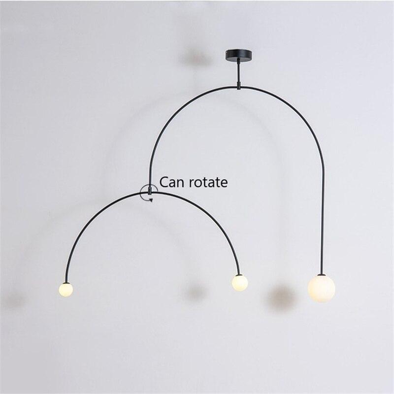 Art Decor Chandelier Designer Iron Balance Long Chandelier Lamp Scandinavian Post-modern Creative Living Room Bedroom Pendant La