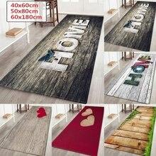 Wujie tapete estampado de madeira para casa, tapete de cozinha com estampa de madeira para sala de estar, lavável tapete bem-vindo