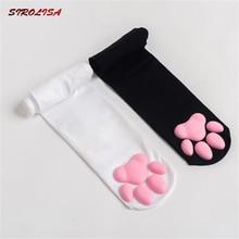 Novo gato longo pata almofada meias de algodão para mulheres toebeanies meninas gato pawpads pegada sobre o joelho coxa meia moda bonito cosplay