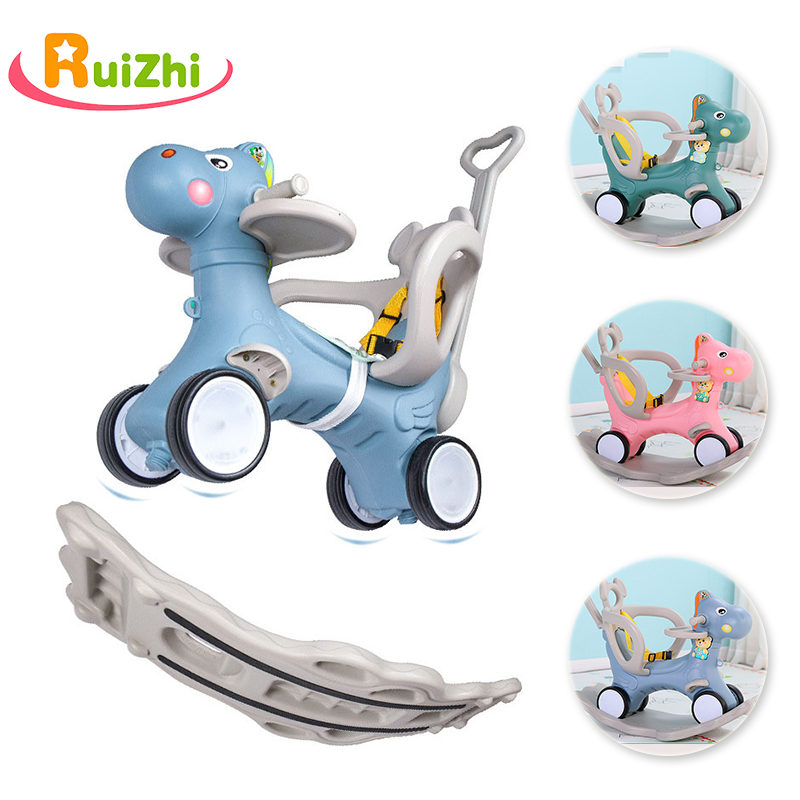 Ruizhi Baby Multi-Functional Animal Rocking Horses Eco-Friendly Plastic Rocking Chairs Infant Walker Indoor Trojan Toys RZ1103