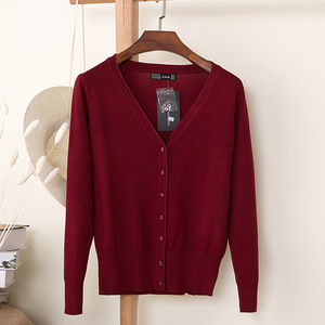 Knitted Cardigan Sweater Women 2020 Autumn Winter Casual Solid Color V-Neck Long Sleeve Coat Crochet Knit Sweater Coat Female