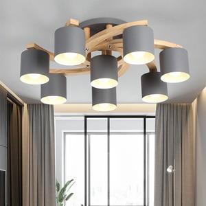 Image 3 - Madeira nórdica E27 Lâmpada Do Teto Simples Arte de Ferro Luz de Teto Quarto Sala lustre de Jantar Cozinha & Bar luzes de teto avize
