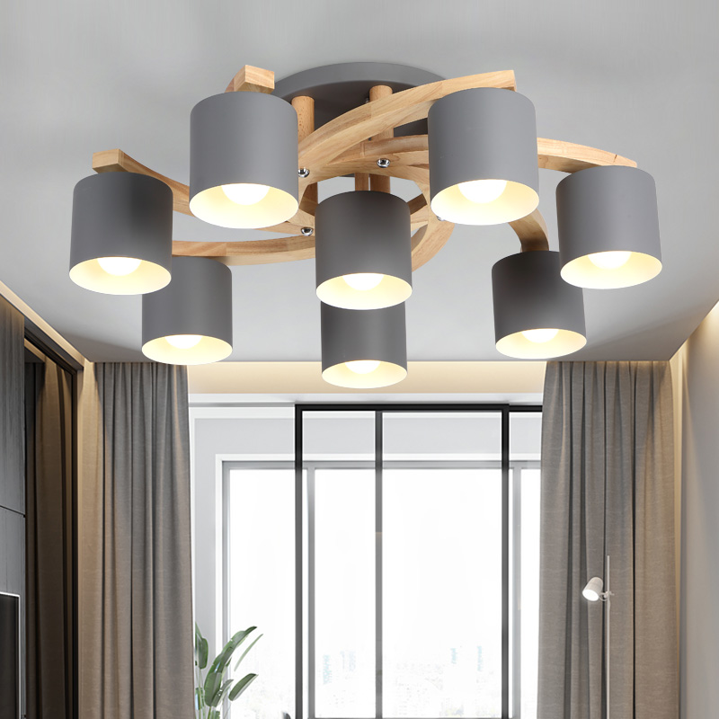 Image 3 - Nordic Wood E27 Ceiling Lamp Simple Art Iron Ceiling Light Bedroom Living Room lustre Kitchen Dining & Bar ceiling lights Avize-in Ceiling Lights from Lights & Lighting