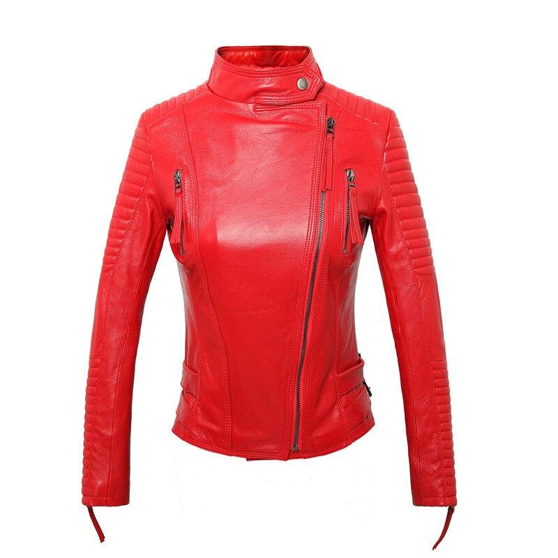 Women Geniune Leather Jacket Sheepskin Leather Short Slim Motocycle Jackets Spring Autumn Jaqueta De Couro 1229 MF151
