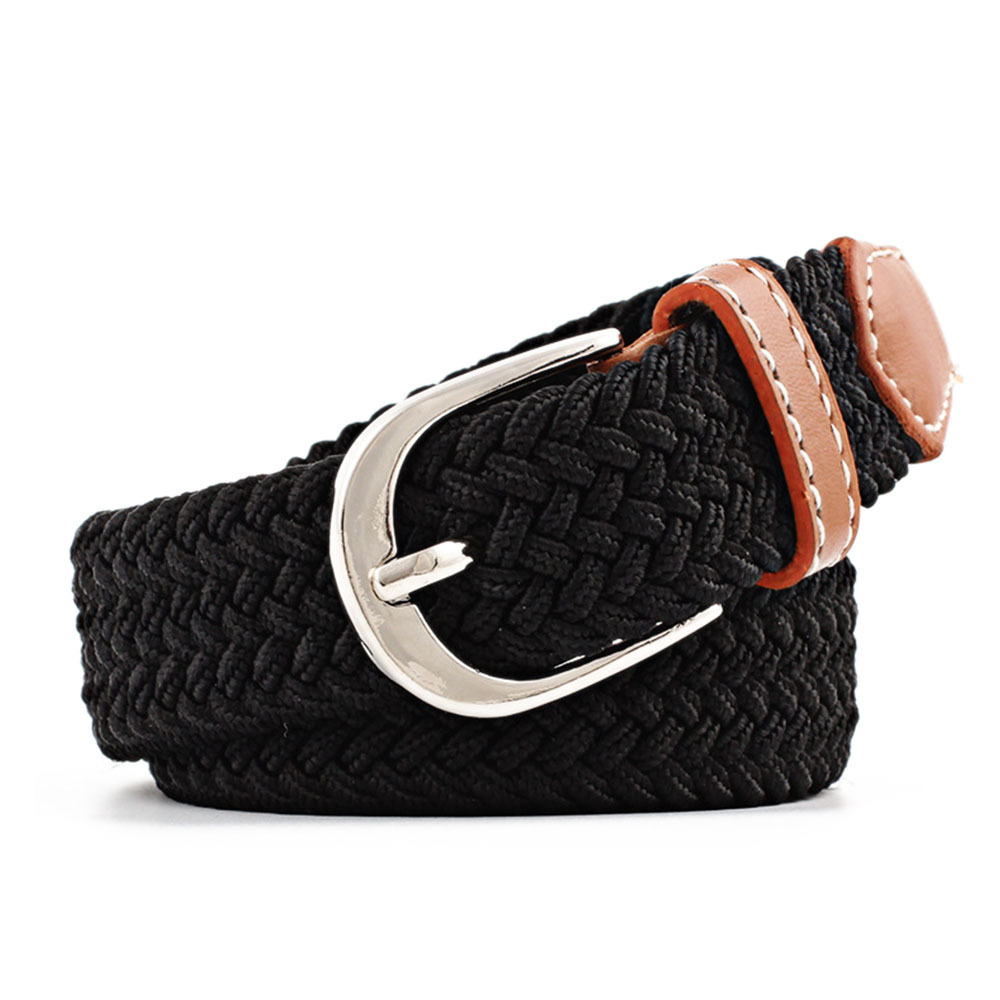 Men Women Woven Canvas Elastic Stretch Belts Casual Knitted Pin Buckle Belt Plain Webbing Fashion 100-120cm Waistband Hot Sale