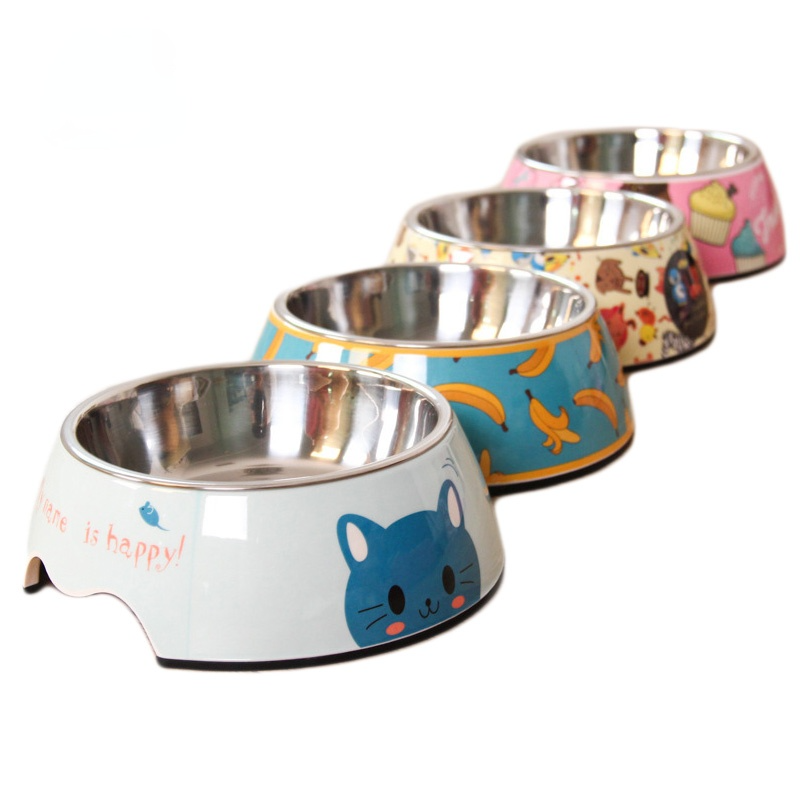 Cartoon Non-slip Stainless Steel Dog Bowl Cat Bowl Pet Bowl Double Bowl Pet Feeding Bowl Feeder Product Supplies Dog Food Feeder