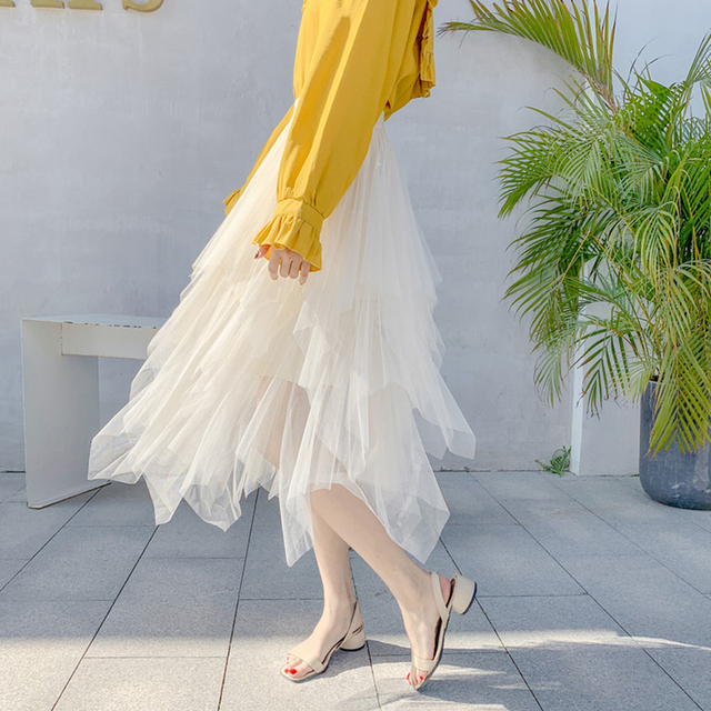 2019 Fashion Elastic High Waist Mesh Tutu Maxi Pleated Long Midi Saias Jupe Women's Skirt Tulle Skirts Womens Faldas Mujer Moda 5