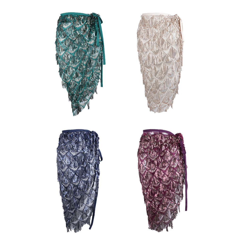 Hip Scarf For Belly Dance Folk Dance Costume Long Dance Skirt With Sequins