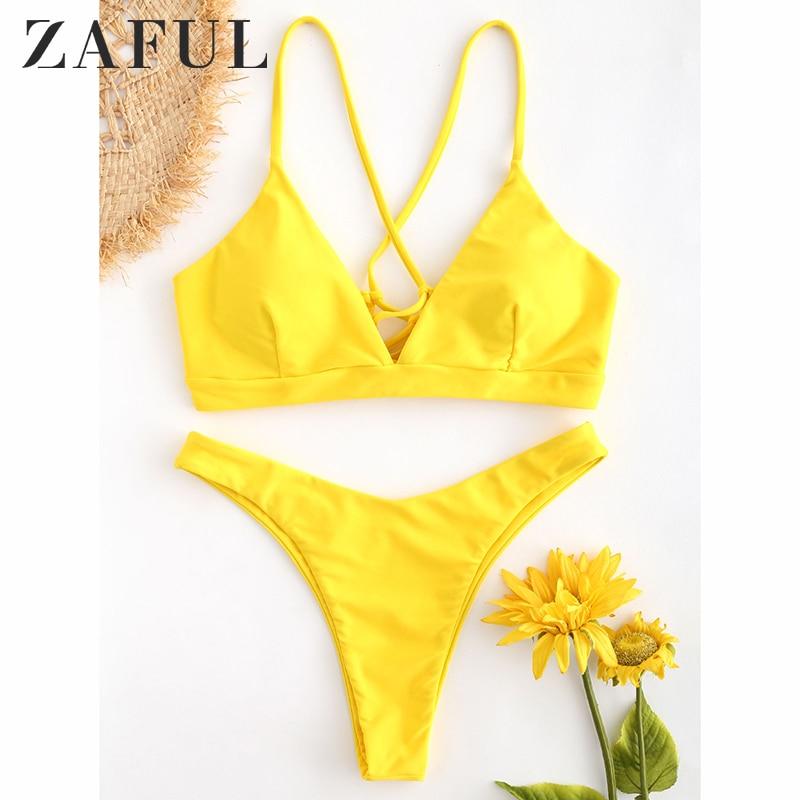 ZAFUL Back Lace-up Thong Bikini Criss-Cross Swimwear Women High Cut Swimsuit Peacock Blue Straps Low Waist Biquni Bathing Suit
