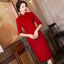 2019 sınırlı kadın yüksek yeni fon sonbahar kışlar bacalı uzun Cheongsam kol Qipao elbise toptan Vintage festivali