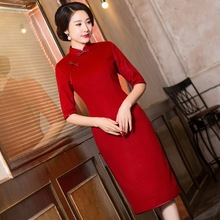 2019 محدودة المرأة عالية من صندوق جديد من الشتاء الخريف هو تنفيس طويل شيونغسام كم تشيباو فستان الجملة مهرجان خمر