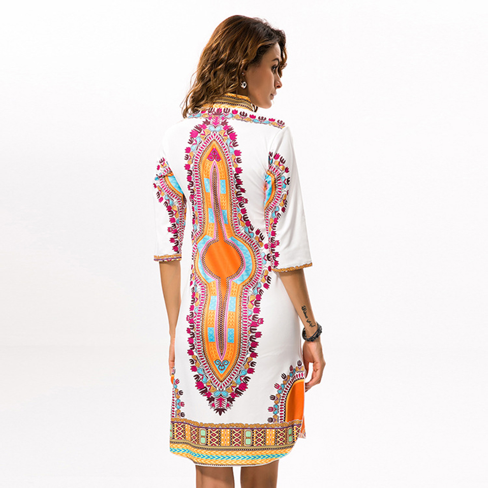 Women Close fitting national style classic high elasticity printed self cultivation V neck dress african clothes JQ 10010 in Africa Clothing from Novelty Special Use