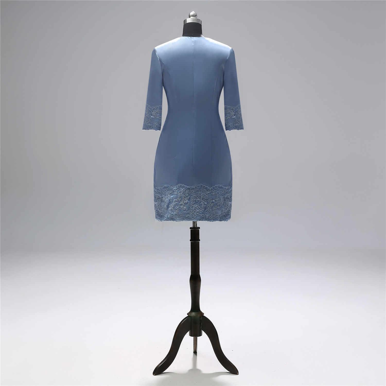 Ibu dari Pengantin Wanita Gaun Dua Sepotong Set dengan Jaket Elegan Lutut Panjang Gaun Pesta Pernikahan Formal Gaun PLUS ukuran Gamis
