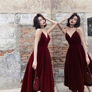 Womens Backless V Neck Spaghetti Strap Sleeveless High Waist Sexy Party Velveteen Female Midi Dresses