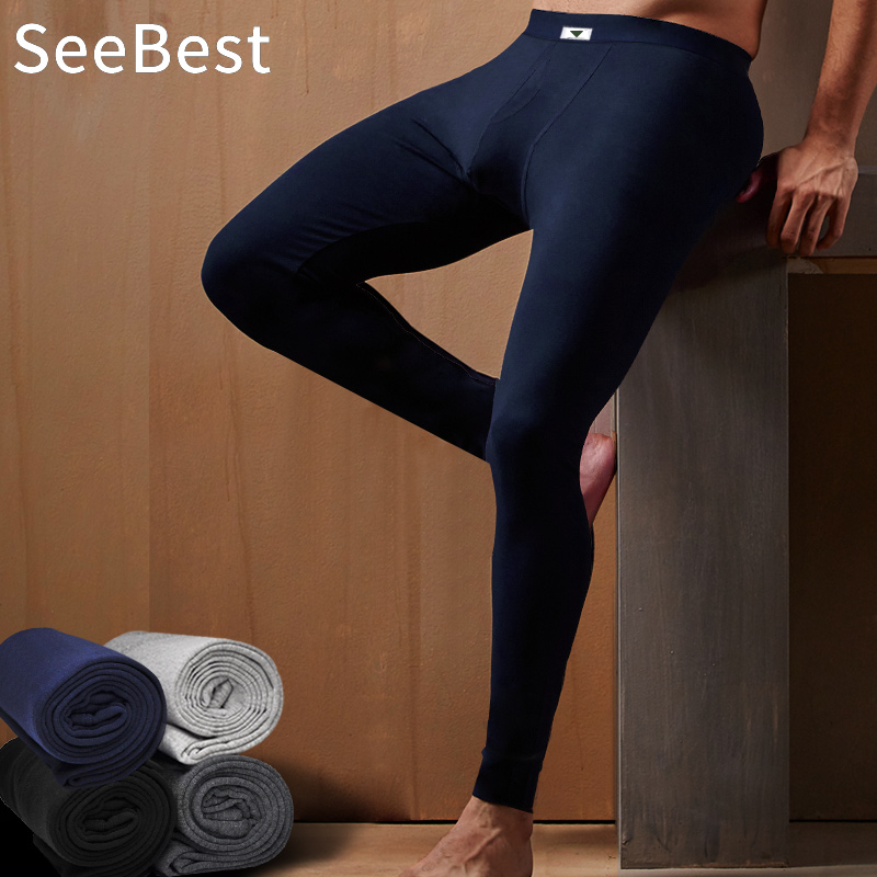 SeeBest Mens Leggings 100% Cotton Long Johns Thermal Underwear Pants Thermo Winter Warm Thick Loose Plus Size Black 2019 NEW