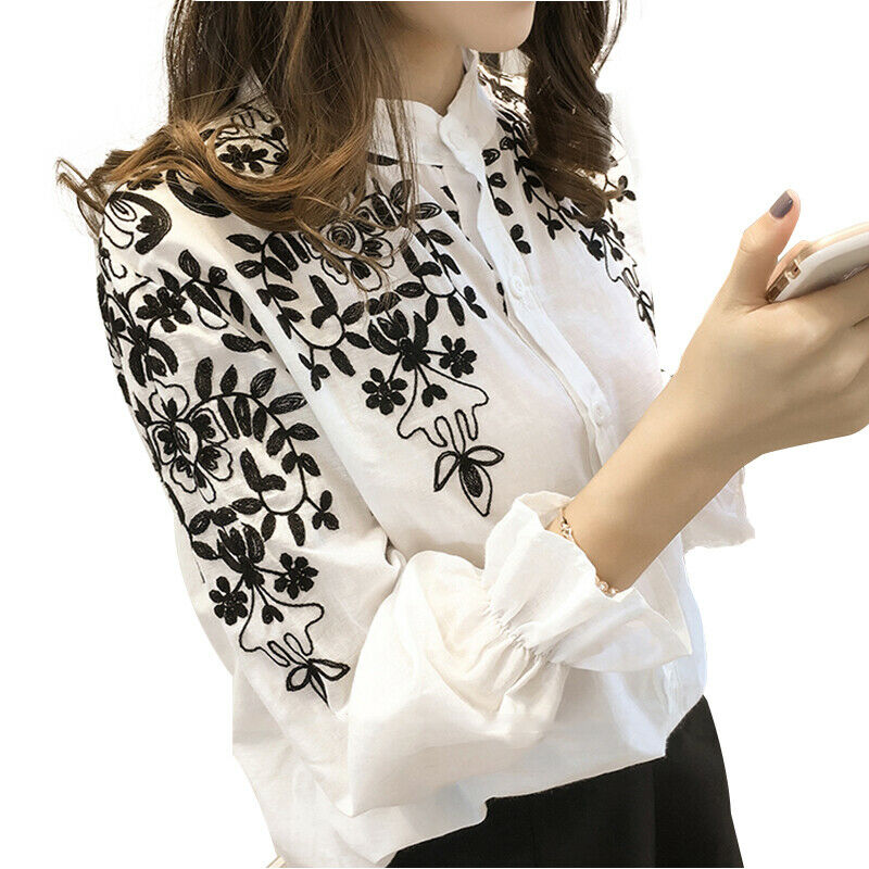 Plus Size Women long sleeve Embroidery Blouse Holiday Summmer Casual Shirt White Black Solid Cotton Shirts Plus Size 5XL Hot