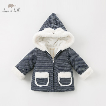DB11630 dave bella winter baby girls hooded plaid coat infant padded jacket children high quality coat kids padded outerwear