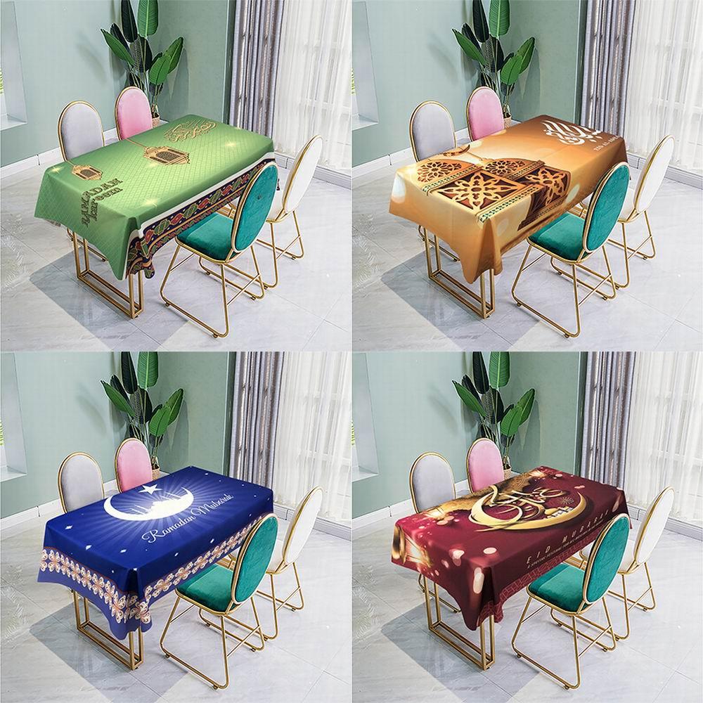 Muslim Eid Mubarak Tablecloth Waterproof Rectangle Print Tablecloth Prayer Dining Table Cloth Islamic Ramadan Kareem Decoration