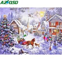 AZQSD Christmas Diamond Painting Scenery Home Decor Embroidery Winter Craft Kit Rhinestones Pictures Full Display