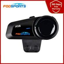 2020 versão fodsports fx6 intercomunicador moto rcycle capacete fone de ouvido 6 pilotos 800m rádio fm moto sem fio fones para todos os tipos capacetes