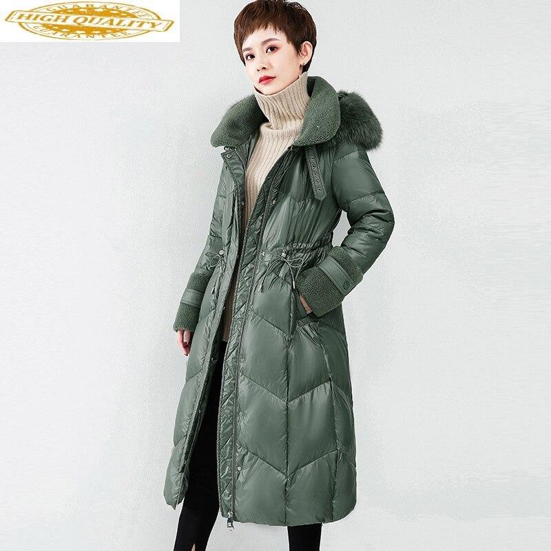 Women's Down Jacket Winter Long Duck Down Coat Fox Fur Collar Elegant Clothes 2020 Doudoune Femme Hiver WF1Y19695 KJ3679