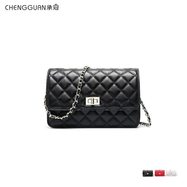 Fashion quality chengguan 1118 genuine leather rhombus pattern chain shoulder bag exquisite workmanship Satchel delicate women