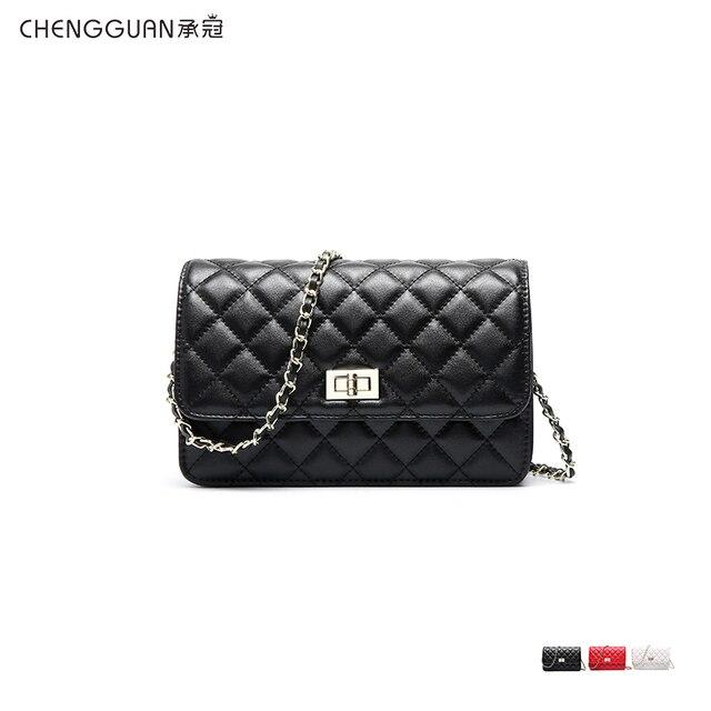 جودة الموضة chengguan 1118 جلد طبيعي نمط المعين سلسلة حقيبة كتف صنعة بديعة حقيبة حساسة للنساء