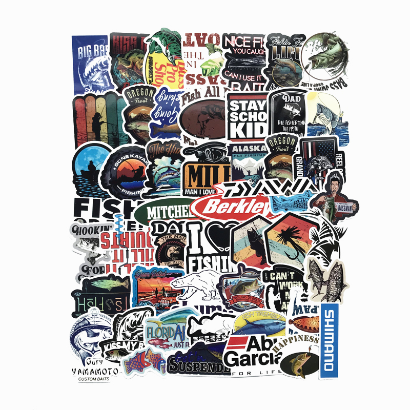 50pcs VSCO Fisherman Go Fishing Stickers For Laptop Suitcase Boat Decoration Fishing Tackle Hydro Flask Sticker Waterproof