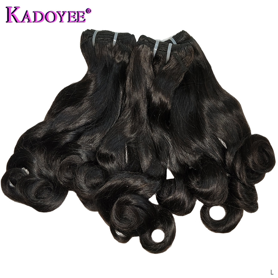 Funmi Hair Bouncy Curl Hair Weaving Natural Color Human Hair Bundles Malaysia Hair Weave 3 Bundles Remy Hair Extension For Women