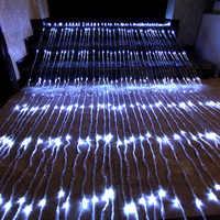 Décoration en cascade avec rideau, cascade lumière de cordelette de pluie de météores 3X3M 320