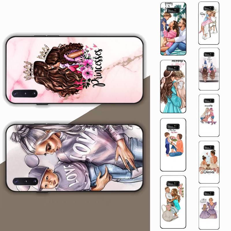 Siyah kahverengi saç bebek anne kızı kız Son baba telefon kılıfı için Samsung not 3 4 5 7 8 9 10 20 pro lite ultra Oppo A9 2020