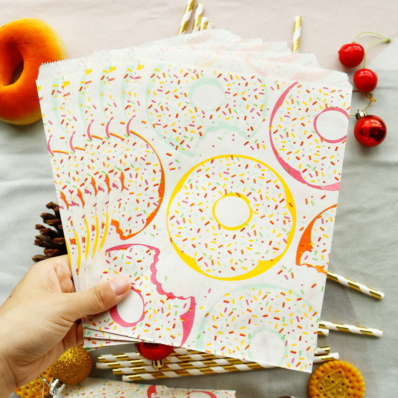 20pcs Cute Donut Paper Bag Cookie Candy Bags Party Wedding Gift Packing Bag Craft Gift Bag Birthday Supplies