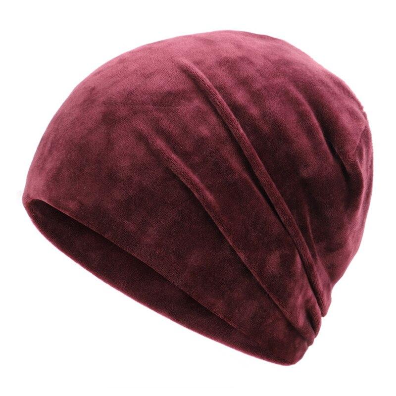 Новинка, модная женская шапочка, блестящие стразы, Осень-зима, Женская Повседневная шапка, Женская бархатная мягкая шапка Skullies Bonnet - Цвет: Wine-2