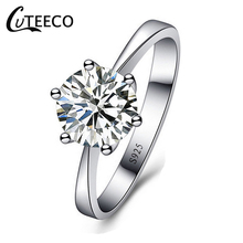 CUTEECO 2019 Fashion Shiny Wedding Rings Cubic Zirconia Engagement Women Ring Sterling Silver Gift Jewelry
