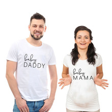 Baby Daddy Baby Mama Pregnancy Announcement Shirts Mom and Dad T Shirt Funny Matching Couple Maternity Tops Tee