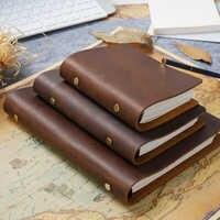 Gran oferta, carpeta de anillos para Cuero clásico, cuaderno A5 A6 A7, cubierta de cuero genuino, cuaderno de bala, planificador de bocetos, papelería