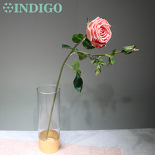 INDIGO-5 pcs Pink Rose With Bud High Quality Real Touch Decorative Artificial Wedding Flower Party Event Free Shipping