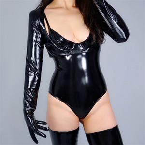 Image 3 - 2020 新ラテックスボレロ手袋輝き革フェイクパテントブラックトップジャケットすくめ女性ロング革手袋 WPU205 クロップ