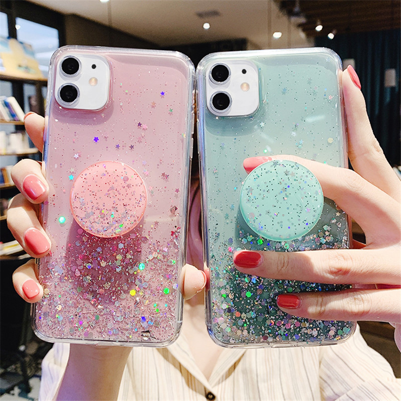 3D Bling Glitter Slim Silicon Soft Case For Samsung Galaxy S8 S9 S10 Plus S20 Ultra A20 A50 Note Stand Holder Phone Cover Socket