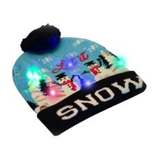 Christmas Snowman Cuffed Knit Hat with LED Colorful Light Women Men Cap Fur Bobble Ball Pompom Winter Beanie Skullies Blue