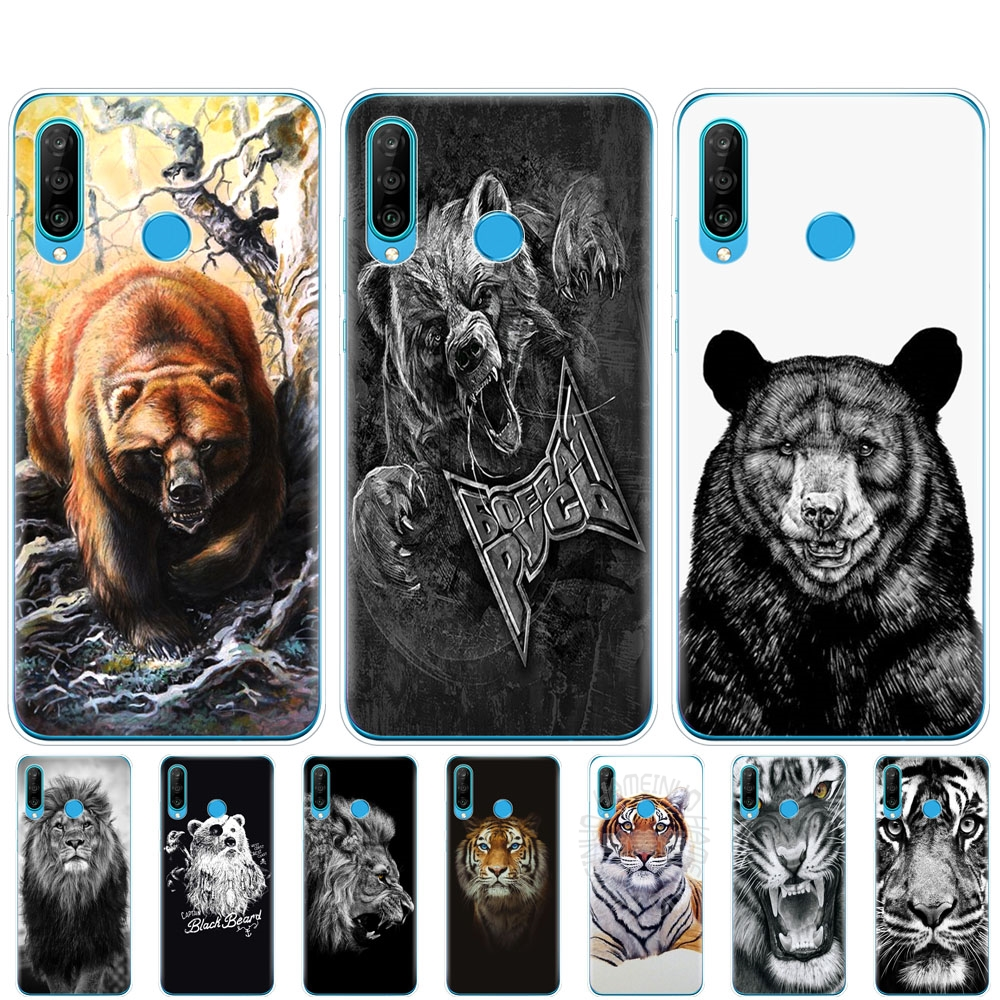 <font><b>silicon</b></font> phone <font><b>case</b></font> for <font><b>HONOR</b></font> 20 lite view 30 v 30 pro cover for huawei <font><b>honor</b></font> 20S 9A 9C 9X Premium <font><b>7s</b></font> 8a russian bear tiger lion image