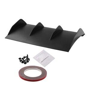 """Image 1 - Universal Spoiler Rear Bumper 4 Fins Curved Diffuser Fin Black ABS Car Rear Bumper Lip Diffuser 22"""" x 12"""" For Dodge"""