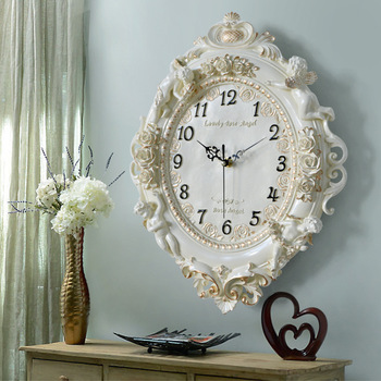 European Style Wall Clock Living Room Creative Art Clock Resin Decoration Quartz Clock Household Bedroom Mute clocks