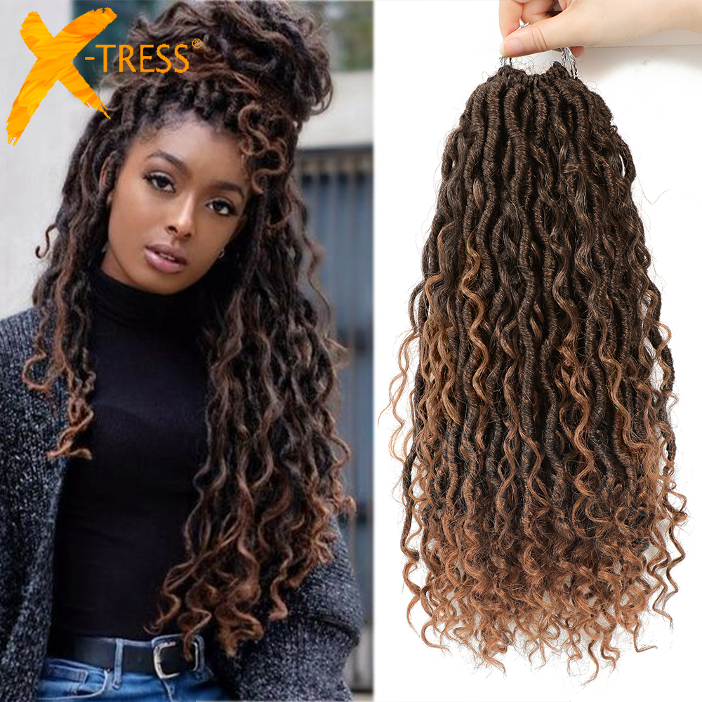 Synthetic Crochet Braids Hair Passion Twist River Goddess Braiding Hair Extension Ombre Brown Faux Locs With Curly Hair X-TRESS 1