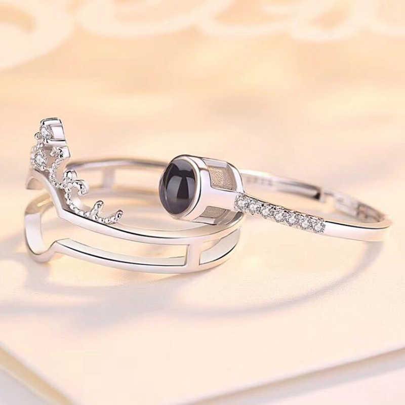 Dropshipping I love you anillo de proyección romántico anillo de boda oro rosa y plata 100 idiomas joyería para regalo